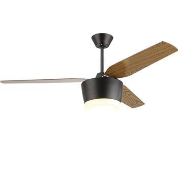 American Style Ceiling Fan Light Kit With 3 Black Wooden Fan Blades HJ006