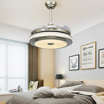 HJ060 Modern LED Ceiling Fan With 4 White ABS Plastic Retractable Blades