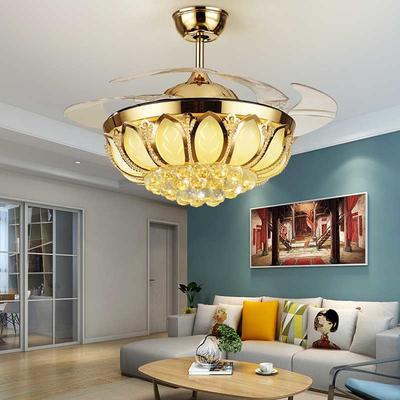 HJ077 Modern Ceiling Fan Light Fixtures With 4 French Gold ABS Plastic Retractable Blades
