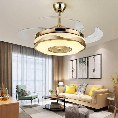 Modern Retractable Fan Light With 4 French Gold ABS Plastic Fan Blades HJ9108