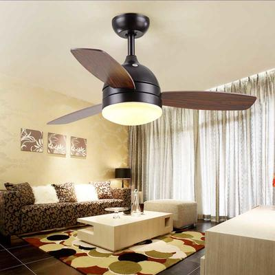 HJ621 American Style Elegant Ceiling Fans With 3 Black Wooden Fan Blades And LED Light