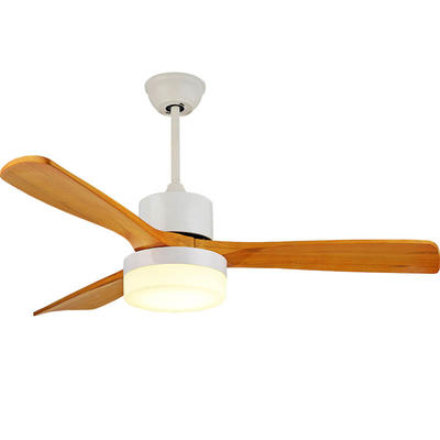 Nordic Ceiling Fan With LED Light And 3 White Wooden Fan Blades HJ042