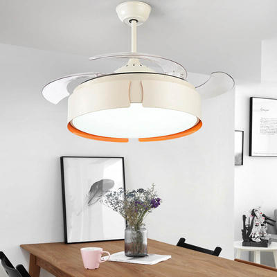 Modern Retractable Fan light With 4 White ABS Plastic Fan Blades HJ3294