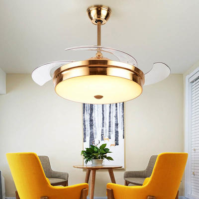 Retractable Modern Ceiling Fans With LED Lights And 4 French Gold ABS Plastic Fan Blades HJ3381