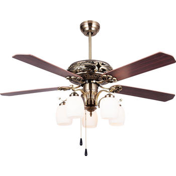 European Style 5 Bulb Ceiling Fan With 5 Red Ancient Wooden Fan Blades HJ8051