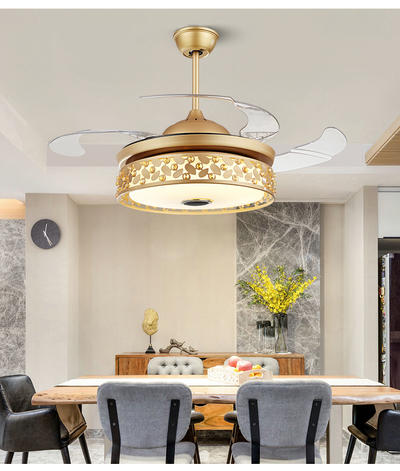 HJ3037 Modern Style Ceiling Fan With Light And 4 Retractable Gold ABS Plastic Blades