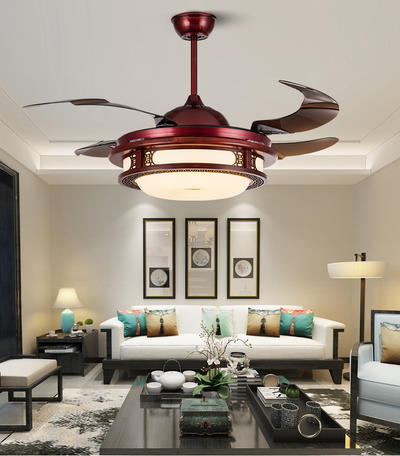 HJ9028 Modern Retractable Ceiling Light Fixture With 4 Red Ancient ABS Plastic Blades