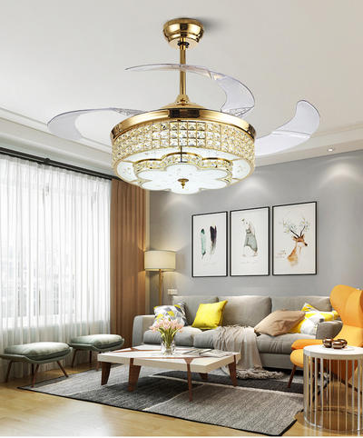 Retractable Modern Ceiling Fan Light Kit With 4 French Gold ABS Plastic Fan Blades HJ9045
